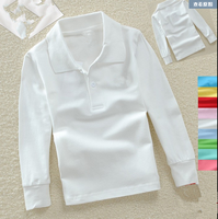 new style kids long sleeve plain white pique kids cotton polo t shirt