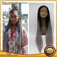 wholesale ombre grey synthetic lace front wig braided kinky twist synthetic hair wig best quality fast free shipping