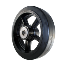 12 X 2 1/2 Black Rubber on Steel Flat Tread Medium/Heavy Duty Wheel with 1/2 Roller Bearing.