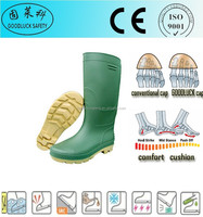Oil Field Green CE Colorful Safety Rain Boots Without Steel Toe Cap