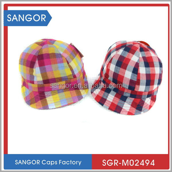 100% Cotton Checked Infant Baby Hats