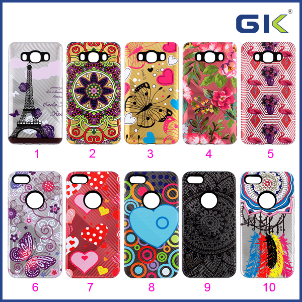 [GGIT] Wholesale Anti-slip Relief Painting Stripes 2 in 1 TPU+PC Combo Case For Samsung G530 Back Cover