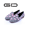 Hot selling paillette decorated shoes Cute lip decorated pump loafer shoes High Quality round head ladies flat shoes