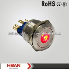 CE ROHS stainless steel led illuminated pushbutton switch