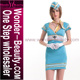 Women Light Blue Halloween Costumes Sexy Airline Stewardess Costume