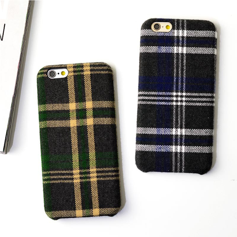 Wholesale England Style Lattice Cloth Soft Mobile Phone Case For iPhone 8 8plus 7 7plus 6 6plus