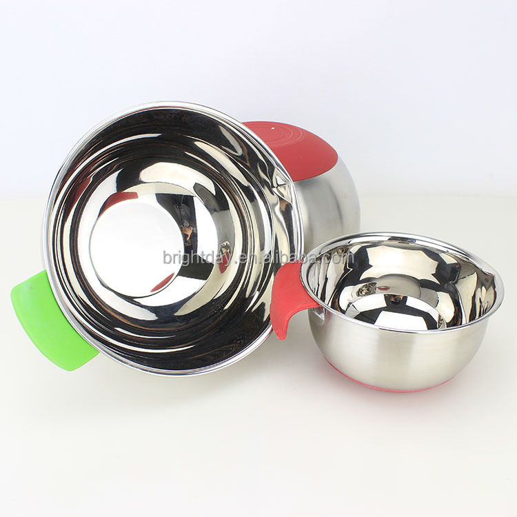 3piece Stainless Steel Mixing Bowl Set Rubber Bottom