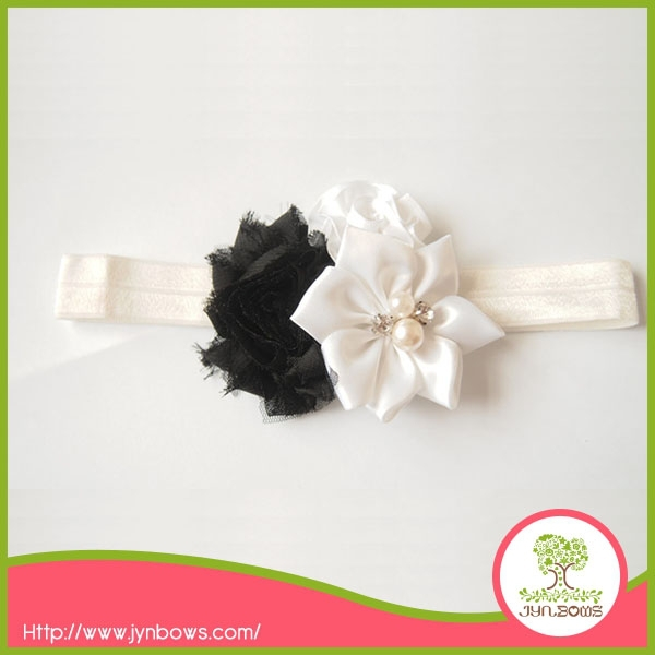 Artifical Chiffon Rose Flower Hair Bands for Little Girls