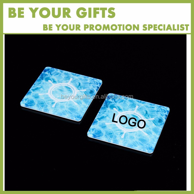 Promotional Custom UV printing Square Shape acrylic blank glass pallet cup coaster