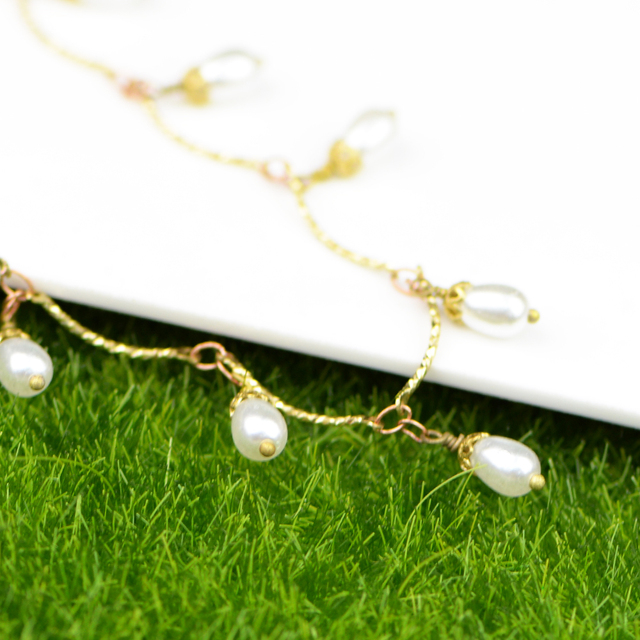 By Yard Wholesale Wedding Indian Headpiece Gold Hair Chains Copper Metal Rosary Bead Pearl Chain