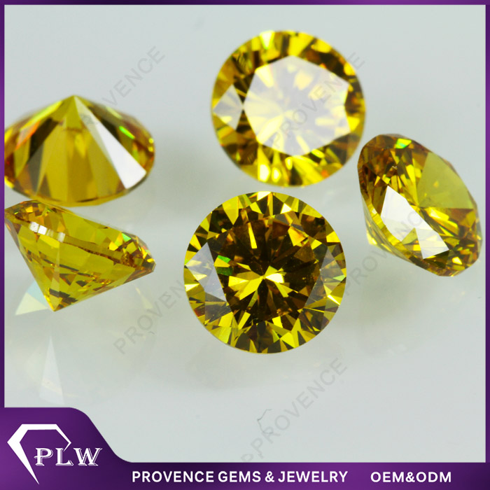 Wholesale Price AAAAA Round Brilliant Cut Cubic Zirconia Light Yellow Top Quality