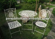 2012 New 3PCS folding metal patio garden furniture with one table and two chairs