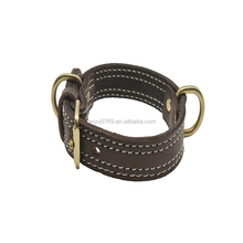 BK01 custom luxury genuine leather spiked dog collar and leash buckle making supplies