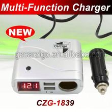 electricity saving two USB interface customized color unique connector car charger for power line