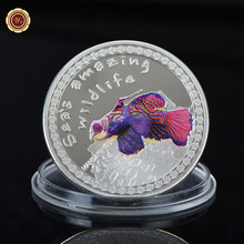 WR Sea's Wildlife Series Customized Fish Design Silver Foil Coin Metal Crafts Home Decorative Challenge Coin with Case