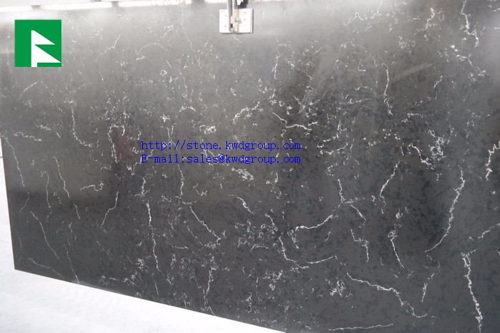Europe market popular white marble vein marble look quartz stone