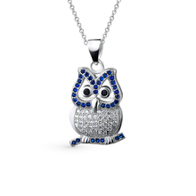 Night Owl Blue CZ Stone 925 Sterling Silver Pendant Necklace Women Accessories