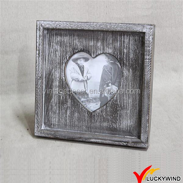 Dent Face Table Stand Vintage Old Love Shape Picture Frame