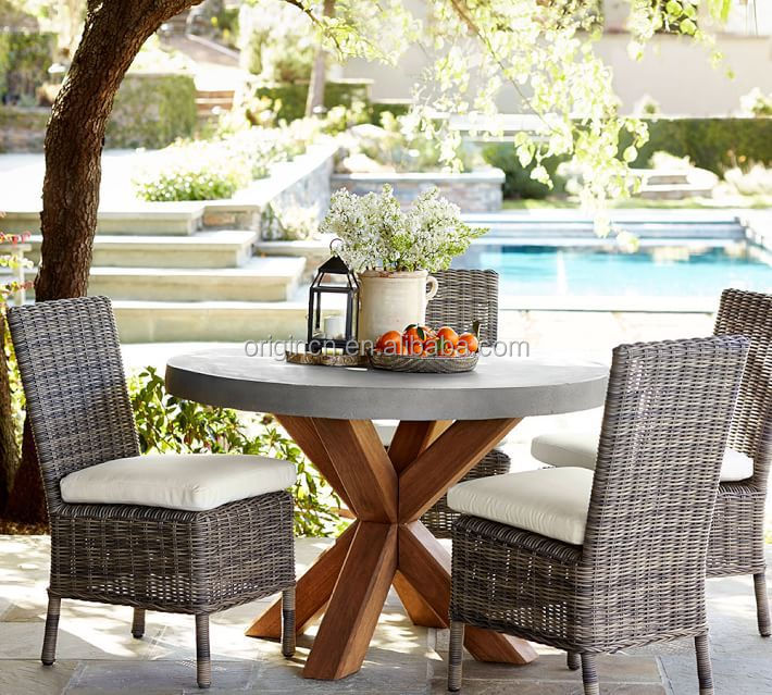 space saving concrete top round dining table with armrest outdoor rattan chair buy rattan. Black Bedroom Furniture Sets. Home Design Ideas