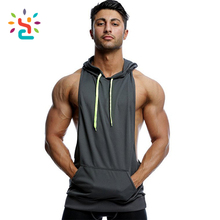 China Wholesale Custom Men Muscle Gym stringer Hoodie Workout Fitness Hoodie Zipper Sleeveless Fleece Hoodie