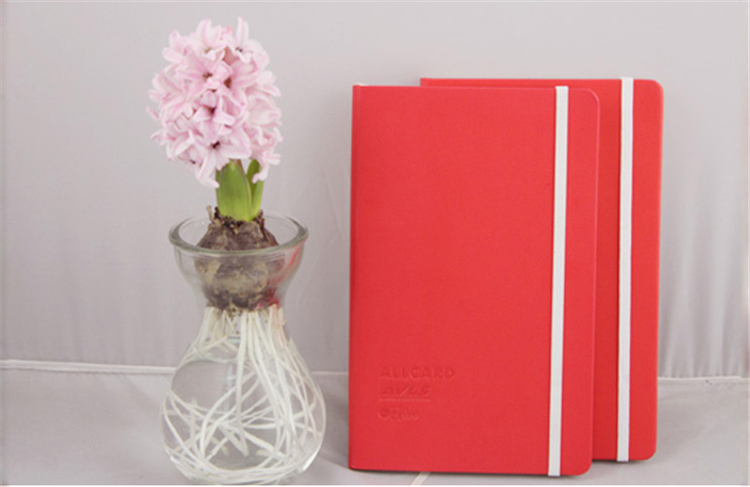 High Grade notebook with custom inner page,leather notebook with elastic band closure and silk ribbon bookmark