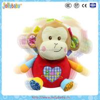 Australian Jollybaby EN71/CE/CCC Fashional And Cute Animals Tumbler Plush Monkey Toy With Bell