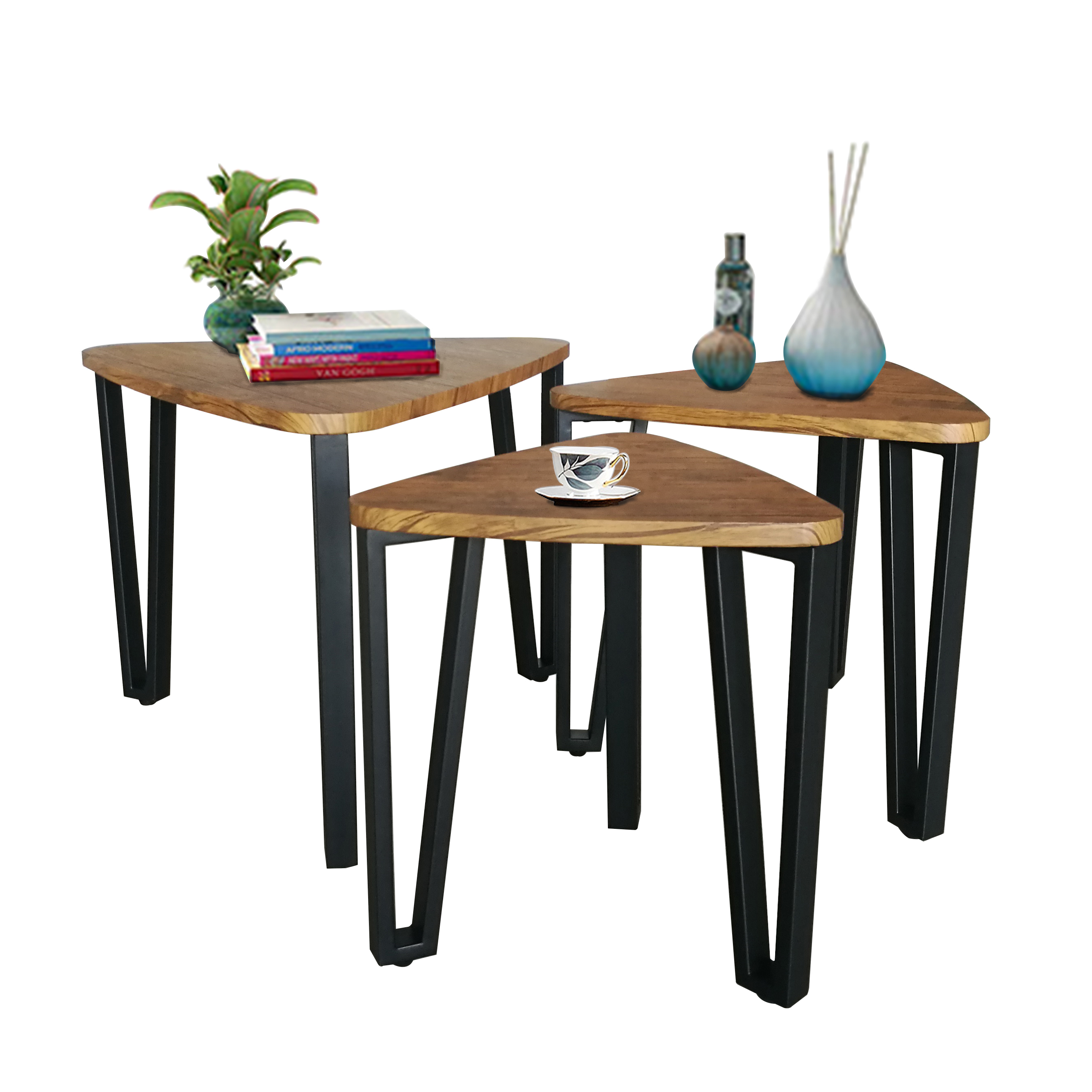 three set modern centre rustic wooden nordic tea sneak end metal frame triangle geometric nesting small side coffee <strong>table</strong>