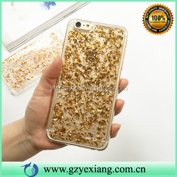 Popular Mobile Phone Soft TPU Glitter Phone Case For Iphone 6 Plus Gold Foil Cover
