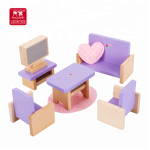 Purple sitting room mini dollhouse furniture wooden doll house miniatures furniture