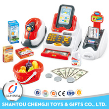 High quality 24pcs supermarket game pretend cash machine toy with music