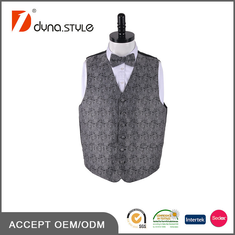 Silver Grey Nice Paisley Polyester Microfiber Fabric Latest Design Men's Waistcoat