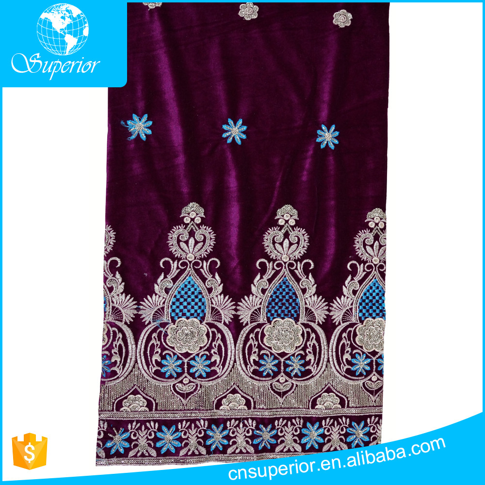 SPR-R006 Superior New design wholesale african velvet lace fabric for evening wedding dress
