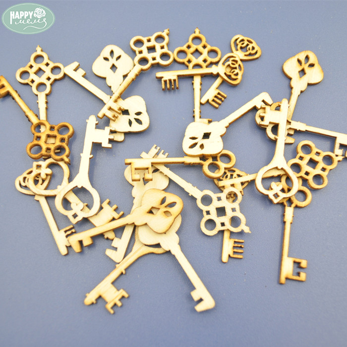 Wholesale Mixed Wood Key Shapes Unfinished Wooden Key Veneers for Decoration