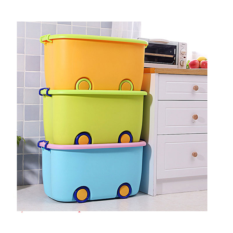 Small size 47*31.5*25cm colorful kids toy car storage bins stackable plastic storage bin with lid and wheels