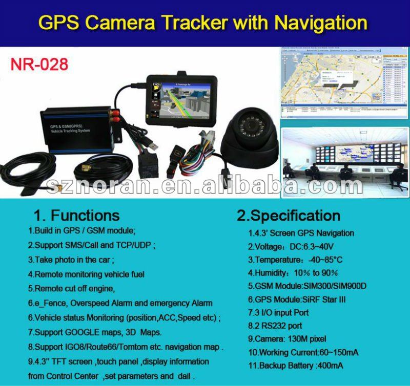 car GPS tracker with navigation/ camera