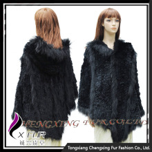 CX-B-116B Fashion Large In Stock Ladies Classic Rabbit Fur Hoody Cheap Poncho Shawl