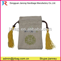 Jute Jewelry Bags with tassel/ Wedding Favors Gift Candy Jute Bags