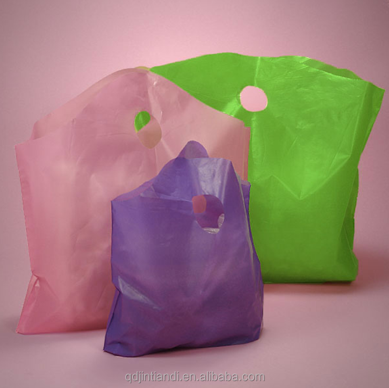 JTD manufacturer wholesale custom recycled super weave top plastic bags with die cut handle