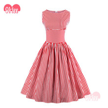 Xiamen Red Stripe Boat Neck Swing 50s Vintage Dress Rockabilly