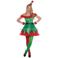 Sexy Green Elf Christmas Tree Costume Adult Women Carnival Santa Claus Cosplay
