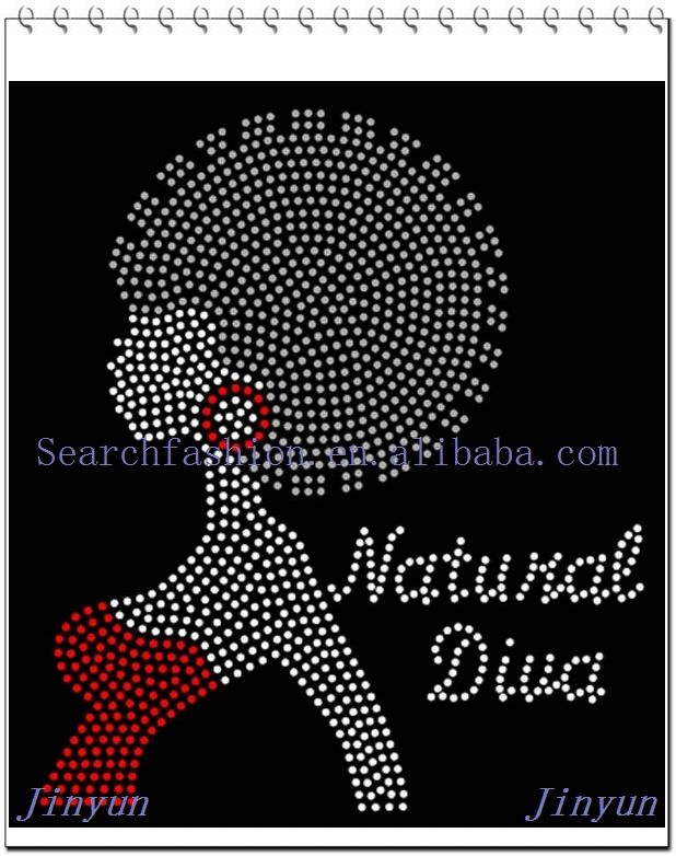 wholesales and custome made hot fix afro girl rhinestone heat transfer