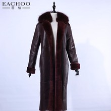 Long Wine Red Leather Trench Coat , Lamb Mouton Leather Coat