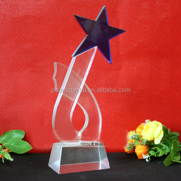Handmade Star design Crystal Glass Trophy Award for business Souvenir gift