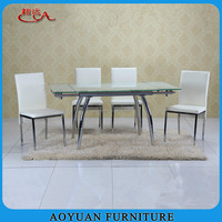 C56 8 seaters metal frame glass extendable dining table