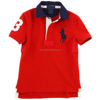 wholesale Soft medium weight durable 100% cotton Red polo shirt with Quality embroidery direct on the fabric