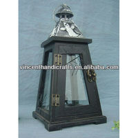 Country wooden lantern with tin top for home decoration