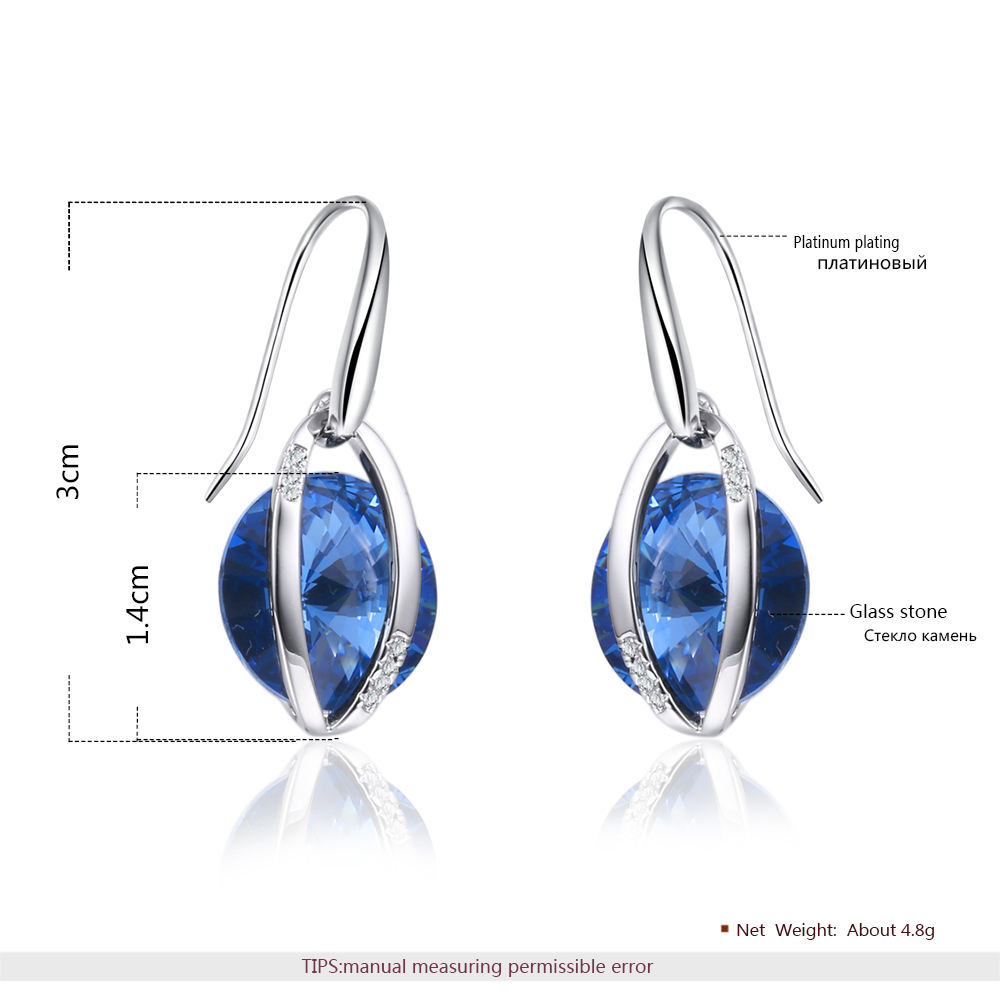 China Wholesale Tanzanite Christal Earrings Europe Hot Sale Design Crystal Earring Round Women Earrings Water Drop Shape