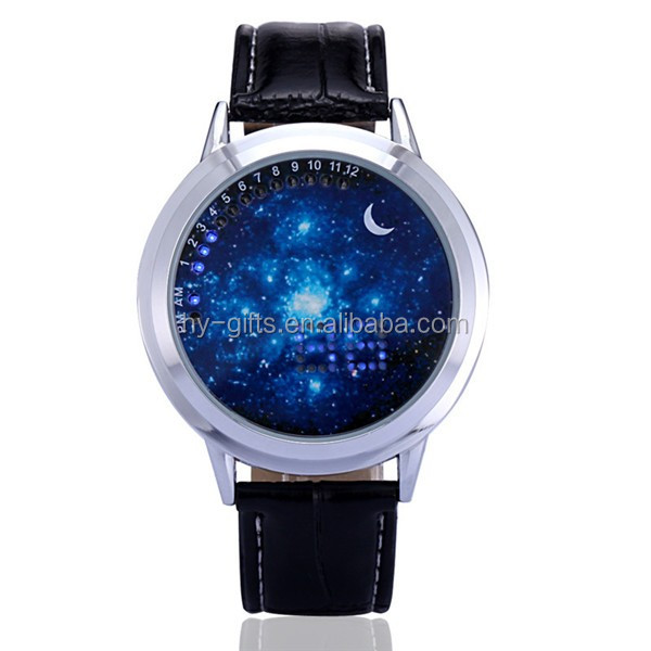 touch screen digital leather watch led light moon face led watch