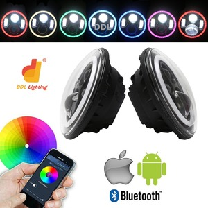 "Bluetooth car accessories 7 inches round halo 7inch 58W angel eyes truck led 7"" headlights"
