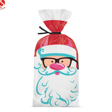 wholesale chirstmas popcorn packing plastic decorative cello gift bags with ties